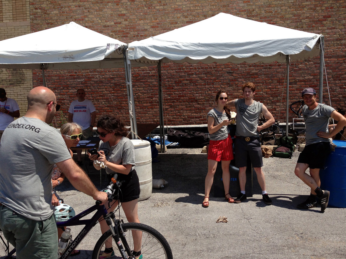 Registering bikes Saturday at Pitchfork Festival