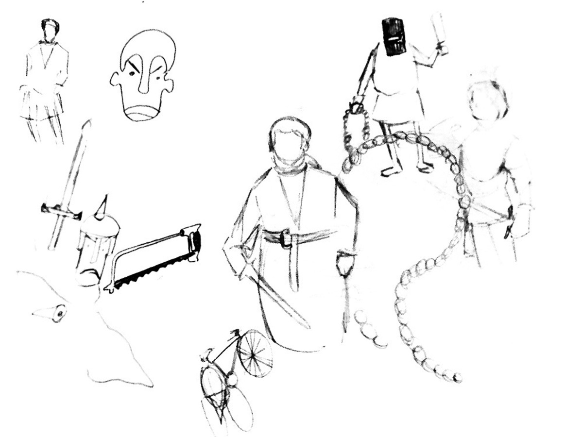 Sketch of some medieval things. Inspiration for Bike Index illustrations