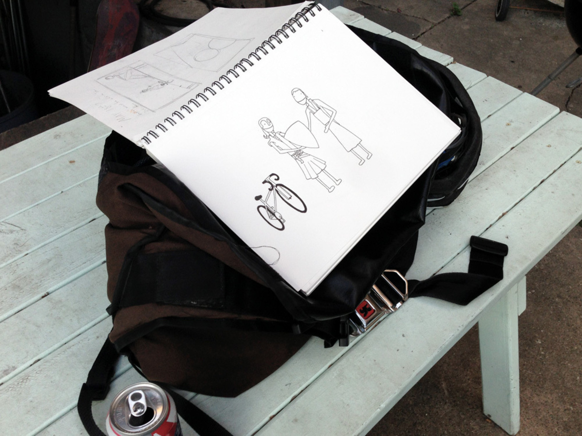 PBR, a bike bag and drawings