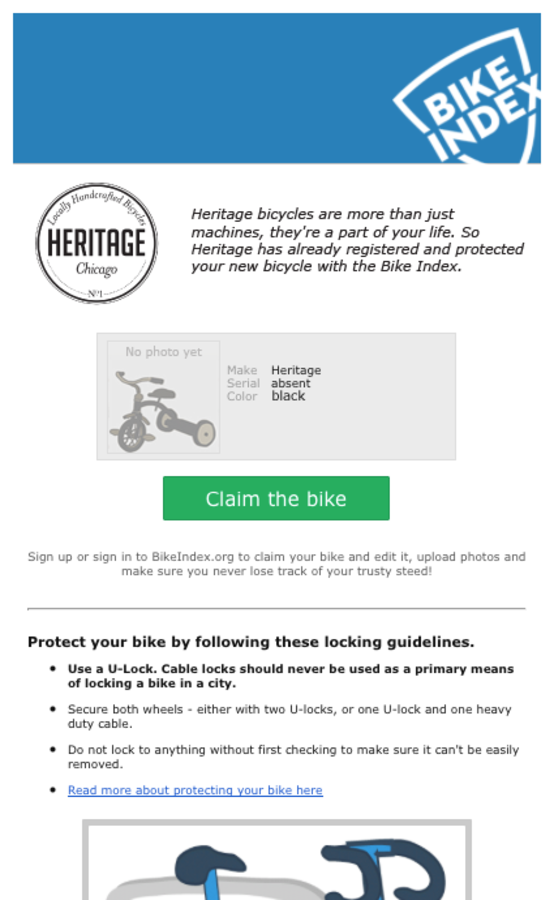 Email sent to new Heritage bike owners by the Bike Index