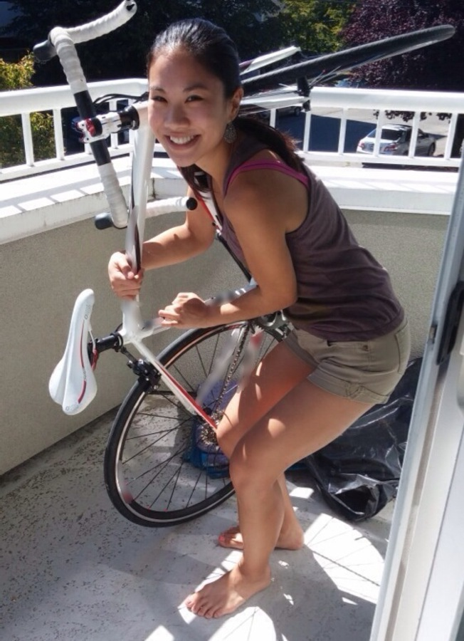 Eva with her recovered bike