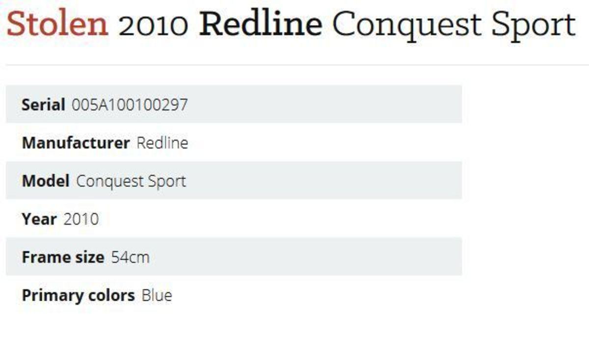 Stolen 2010 Redline Conquest Sport
