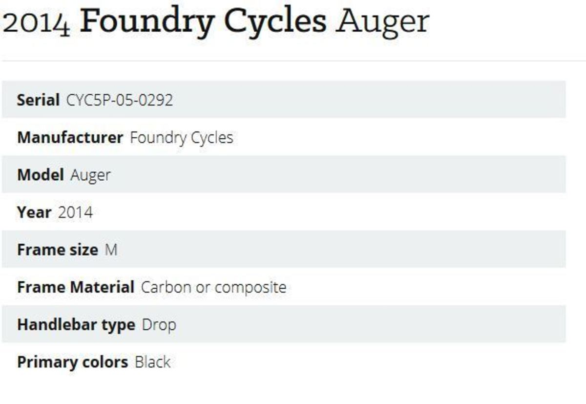2014 Foundry Cycles Auger