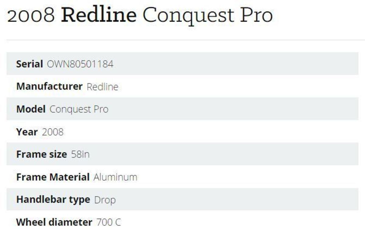 2008 Redline Conquest Pro