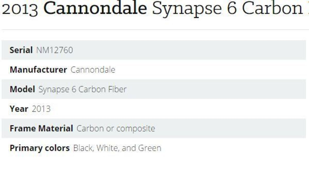 2013 Cannondale Synapse 6