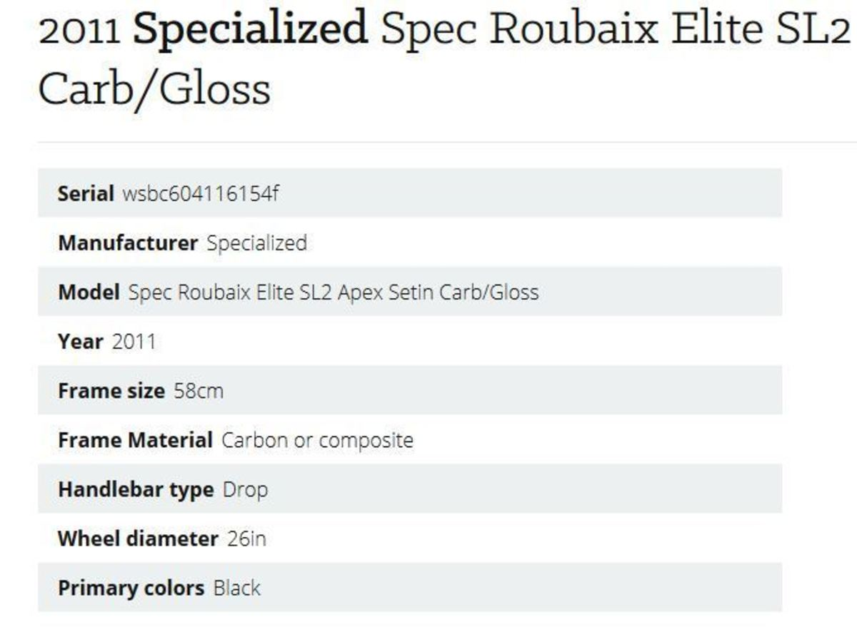 Specialized Spec Roubaix Elite SL2