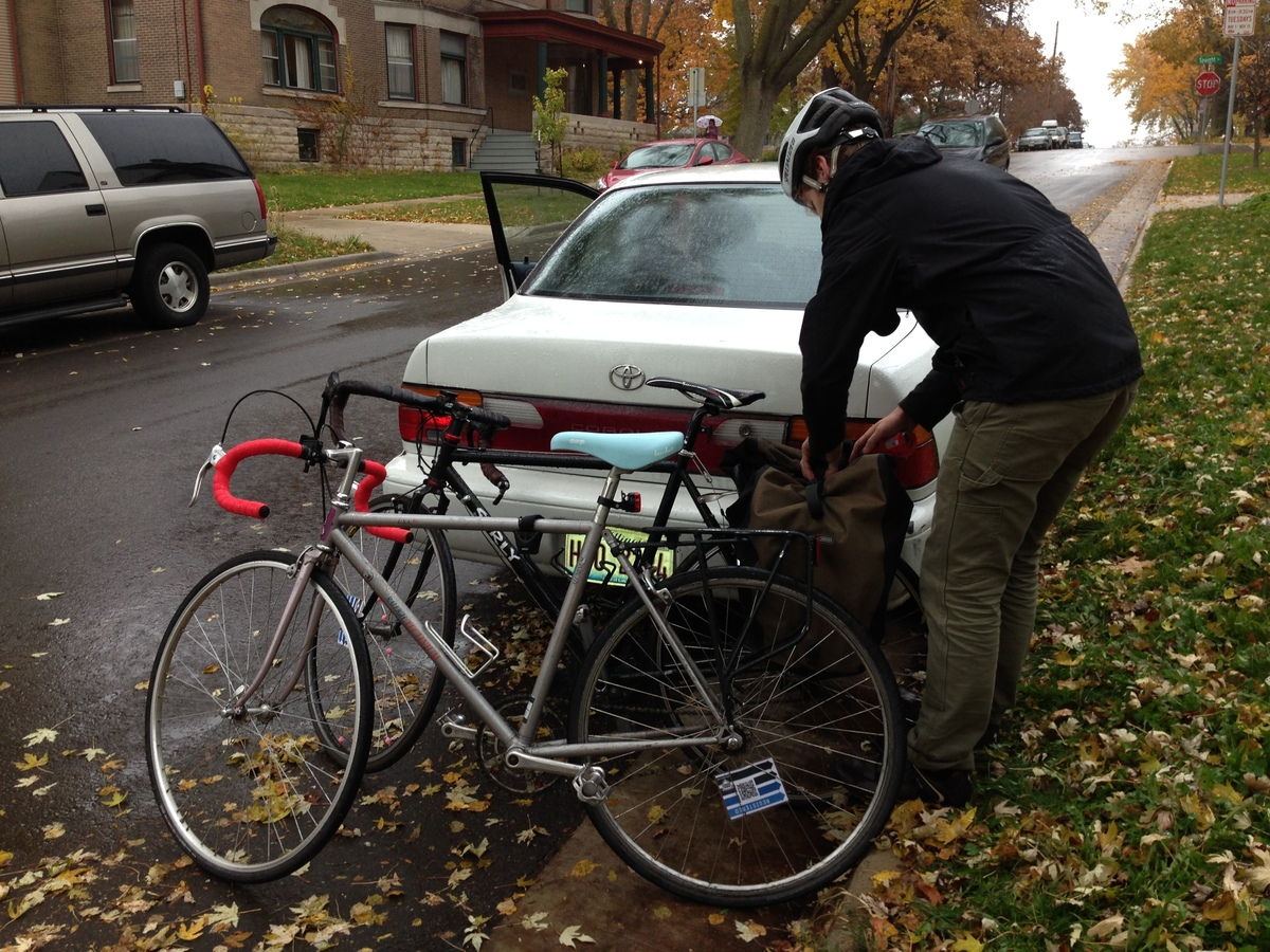 Seth getting the bikes ready to ride around Madison