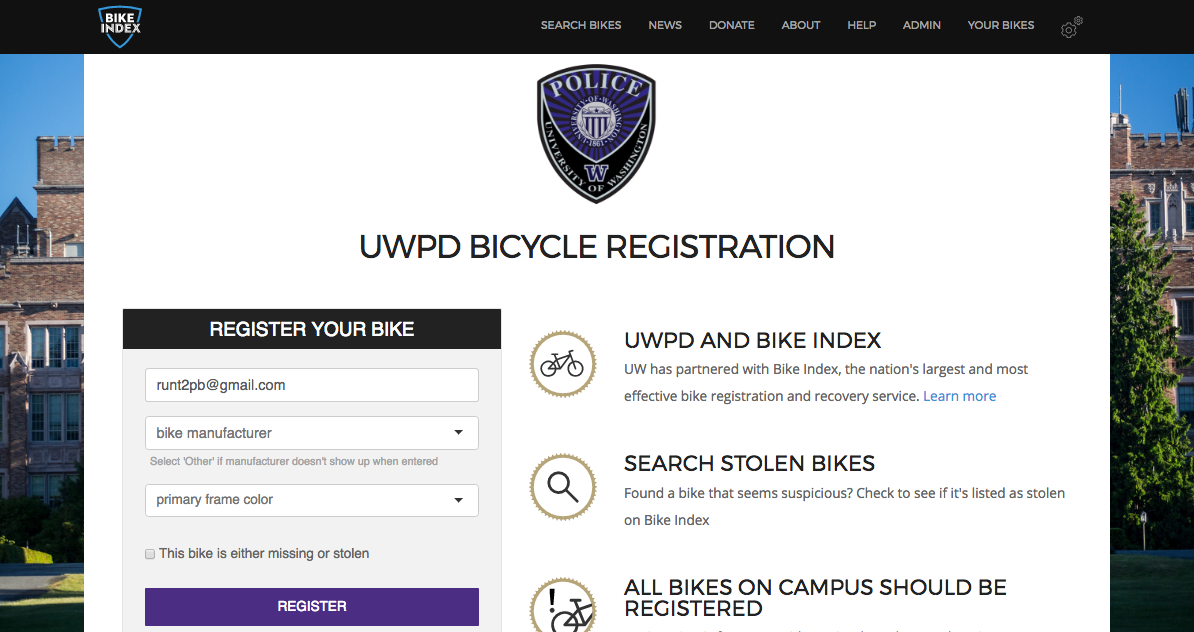 Screen grab of the UWPD Bike Index landing page