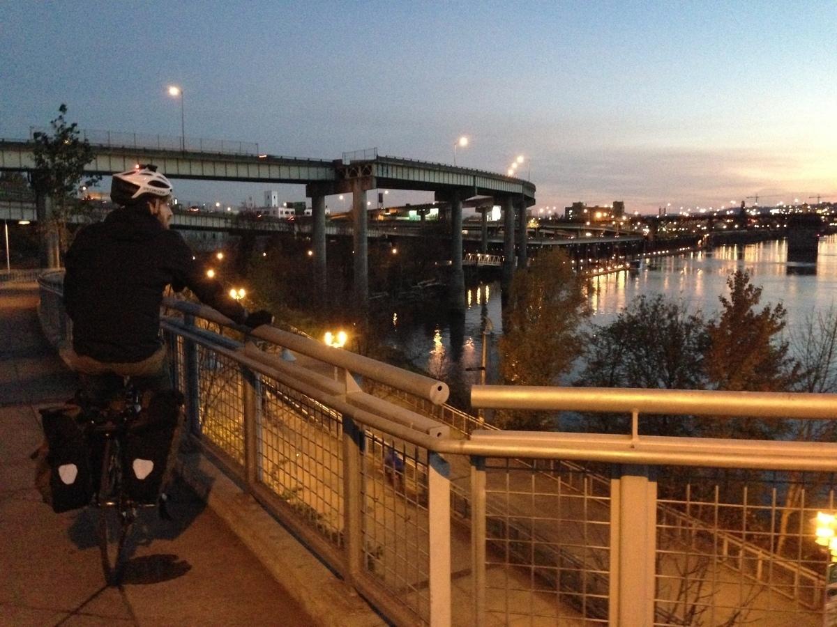 Seth bikes Portland bridge